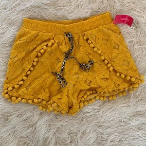 Xhilaration Mustard Yellow Pom Pom Shorts Size S/P
